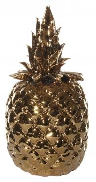 Ananas i gull  h29 cm keramikk