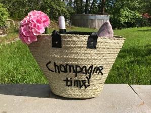 Champagne Stråveske m/skinn håndtak str S