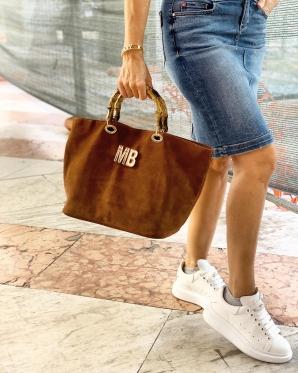 Suede Bamboo Shopping Bag customized