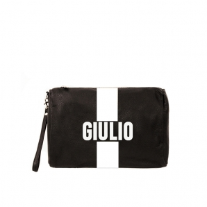 Toilet Bag in genuine leather with printed initials.
