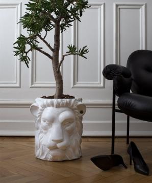 Hvit løve krukke stor